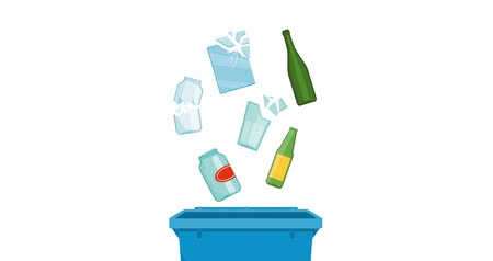 prullenbak : Separate waste collection and recycling educational animation: glass objects falling in a trash bin Stockvideo