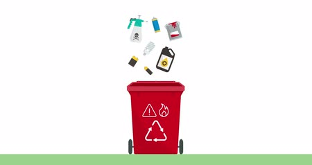 inflammable : Separate waste collection and recycling educational animation: hazardous and inflammable waste falling in a trash bin