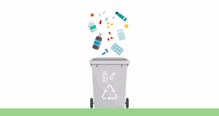 environmental awareness : Separate waste collection and recycling educational animation: expired medicines falling into a trash bin
