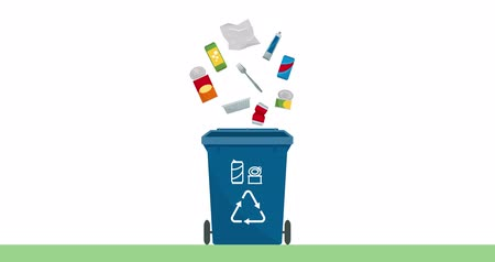 ón : Separate waste collection and recycling educational animation: metal cans, objects and foil falling into a trash bin