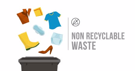 fessier : Separate waste collection and recycling educational animation: no recyclable items falling into a trash bin