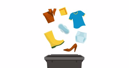 recyklovatelné : Separate waste collection and recycling educational animation: no recyclable items falling into a trash bin