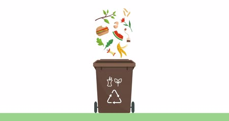 Separate waste collection and recycling educational animation: organic biodegradable trash falling into a trash bin