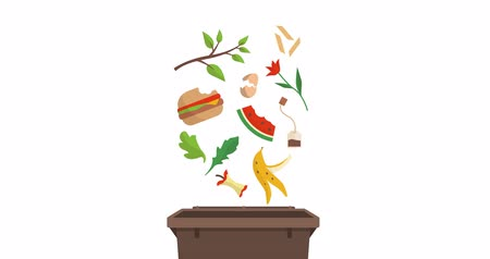biodegradable : Separate waste collection and recycling educational animation: organic biodegradable trash falling into a trash bin