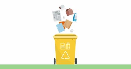 Separate waste collection and recycling educational animation: paper and cardboard garbage falling into a trash bin