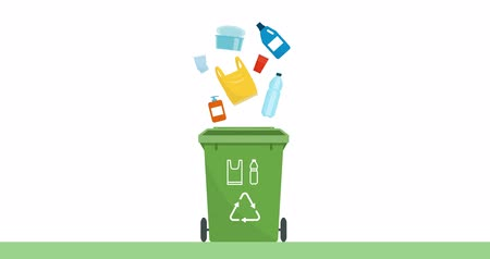 Separate waste collection and recycling educational animation: plastic garbage falling into a trash bin