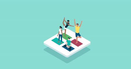 Fitness and sports isometric icon: group of people practicing yoga and meditation