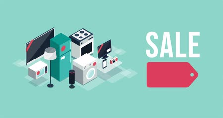 Electronics and appliances promotional sale banner with isometric items and alpha channel, shopping and black friday concept
