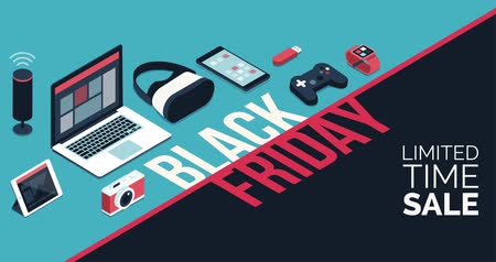 Electronics black friday promotional sale banner with isometric items and alpha channel, shopping and offers concept