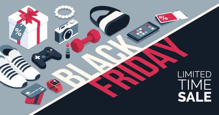 Black friday promotional sale banner with isometric products and alpha channel, shopping and retail concept