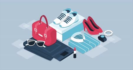 скидка : Fashion and clothing promotional sale banner with isometric items and alpha channel Стоковые видеозаписи