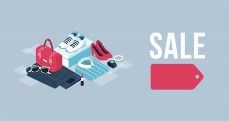 Fashion and clothing promotional sale banner with isometric items and alpha channel Wideo