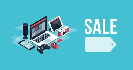 安い : Electronics and devices promotional sale banner with isometric objects, shopping and black friday concept