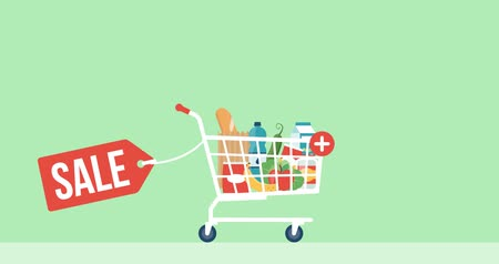 add to cart : Shopping cart with fresh groceries, retail and offers concept