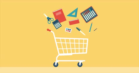 papeteria : Back to school shopping promo, running shopping cart with school supplies, retail and education concept