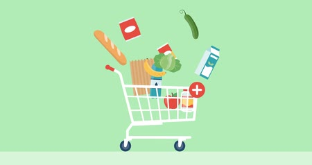 product promo : Shopping cart with fresh groceries, retail and offers concept