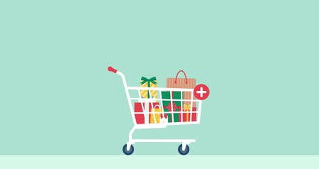 troli : Gifts falling in a shopping cart, free products and prizes concept