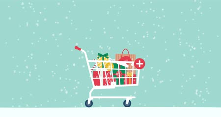 consumerism : Promotional Christmas sale animation with gifts, decorations, shopping cart and snow falling