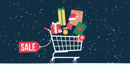 add to cart : Promotional Christmas sale animation with gifts, decorations, shopping cart and snow falling