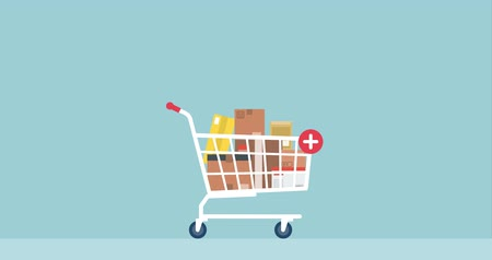 add to cart : Promotion and sale boxes falling in a shopping cart, offers and delivery service concept