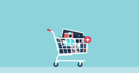 add to cart : Gifts falling in a shopping cart, free products and prizes concept