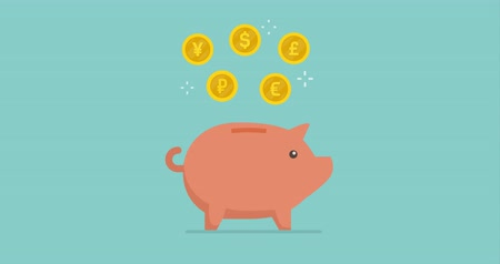 kumbara : Different currencies coins falling into a piggy bank: earning, saving and deposit concept Stok Video