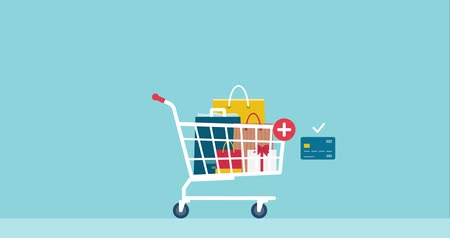 Shopping and payments with credit card, online shopping and payments concept