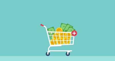 Cash money falling in a shopping cart: investments, earning and stock trading concept