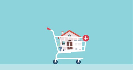 House, contract and keys falling in a shopping cart: real estate, insurance and investments concept