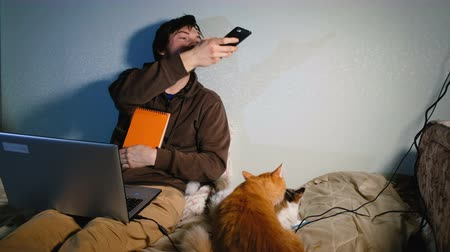 ruivo : Young man taking photographs on smartphone my cats sitting on my bed with my laptop, cats playing and distracting from work. Stock Footage