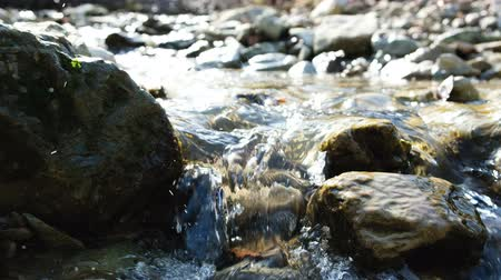 liken : Mountain stream, water flows through the stones in spring, 4k.