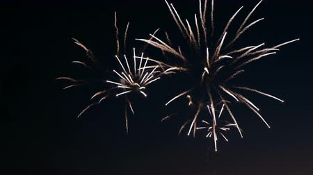 solemn : Fireworks on the city day holiday, big bursts of salute on the night sky Stock Footage
