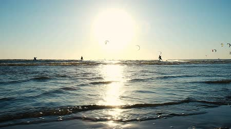 kiting : Kitesurfing in the summer at sea in windy weather at sunset. Camera movement along the coast, slow motion Stock Footage