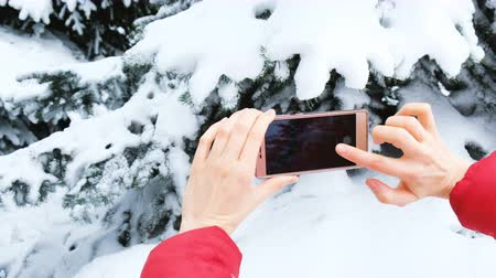 brotos : Girl tourist taking pictures on phone of snowy trees in winter forest close-up
