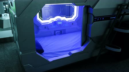 separado : Modern technology - sleepbox with neon lights, space capsule place for sleeping at the airport