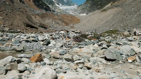landslide : Stony moraine in the mountains on the background of the glacier, slow motion. Mountain stream and wildflowers, camera movement Stock Footage