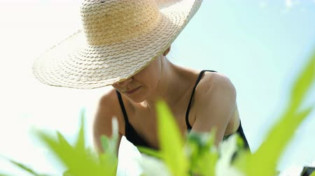 creuser : Young woman in a big straw hat is engaged in weeding the grass on the garden in a vegetable garden close-up
