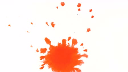 factor : Red watercolor paint drips onto a white sheet and spreads apart, psychedelic abstract drops