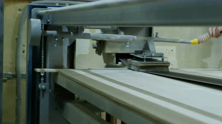 madeira compensada : Grinding plywood on a belt grinding machine, manufacturing wooden furniture