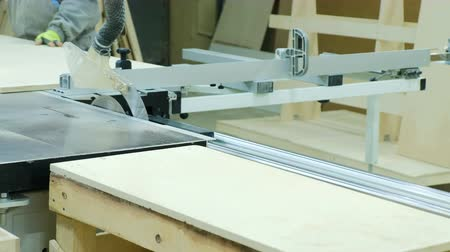 madeira compensada : Circular saw in action, carpenter cutting out sheets of plywood. Manufacture of wooden furniture