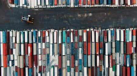 unload : Aerial View of Industrial port with containers ship Stock Footage