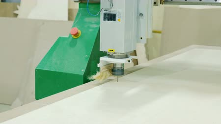 малая глубина резкости : Modern woodworking machine with CNC, milling woodworking lathe machine tool with CNC, furniture production