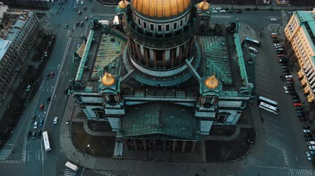 Aerial view of St. Isaacs Cathedral in St. Petersburg, the historic center of the city. Awesome flight over the cathedral.