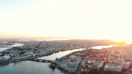 Vasilyevsky and Petrogradsky islands at sunset - aerial shooting of the historical center of St. Petersburg
