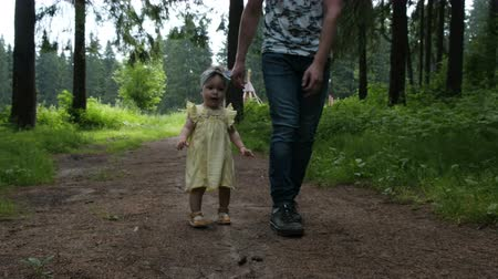 wooden path : strong man and joyful daughter wander along forest path