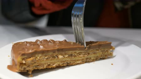vstup : person inputs silver fork in brown chocolate cake slice