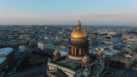 kult : Russian cult art Isaak cathedral zoom in gold dome over city Dostupné videozáznamy