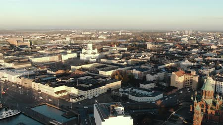 lutheran : Helsinki city center aerial view at sunrise