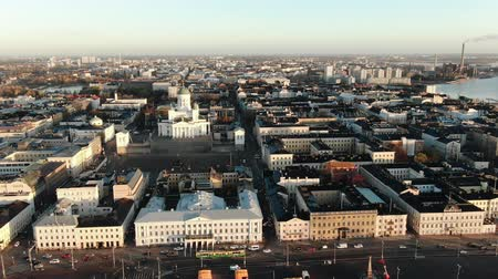 pan shot : camera zooms out Helsinki Cathedral showing cityscape aerial