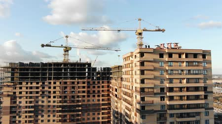 blocks of flats : flycam films construction works at building big panel house Stock Footage